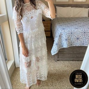 Solution lace tiered maxi dress